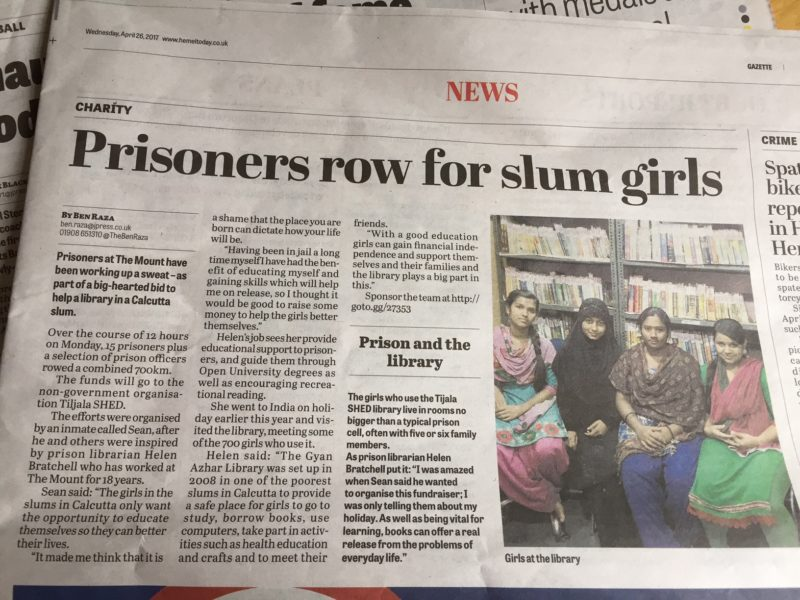 A Tale of Two Libraries: Prison inmates raise funds for a slum library for girls in Kolkata (Calcutta), India, with a sponsored 700 km static row